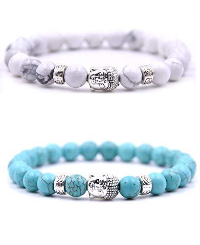 Buddhistische Perlenarmband – Zwei Armbänder aus natürlichen Perlen mit Buddha-Amulett und Chakra-Schutzstein – Armband für Paare, Energieperlen - blau/weiß