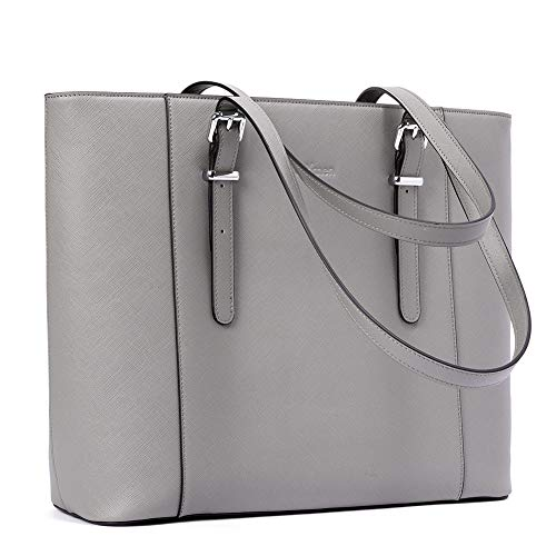 BROMEN Leather Laptop Bag for Women 15.6 inch Computer Office Briefcase Handbag Shoulder Work Tote with Padded Compartment Grey