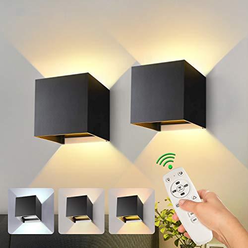 2 Stücke Smart LED Wandleuchten Innen Dimmbar 20W 1800LM Warmweiß/Kaltweiß/Neutralweiß Wandlampe mit Fernbedienung und APP Auf und ab Einstellbarer Lichtstrahl Wandbeleuchtung (Schwarz)