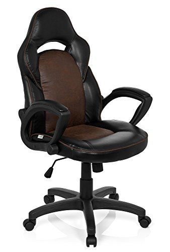 hjh OFFICE 621868 Racing Chefsessel RAYCER VINTAGE I Kunstleder Schwarz/Braun Gaming Gamer Chair Stuhl Drehstuhl gepolstert