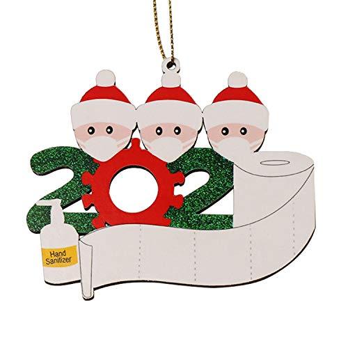 2020 Adornos de árbol de Navidad para Navidad, decoración sobrevivió la familia, familia, Navidad, regalo de madera en cuarentena en casa, familia de árbol personalizado