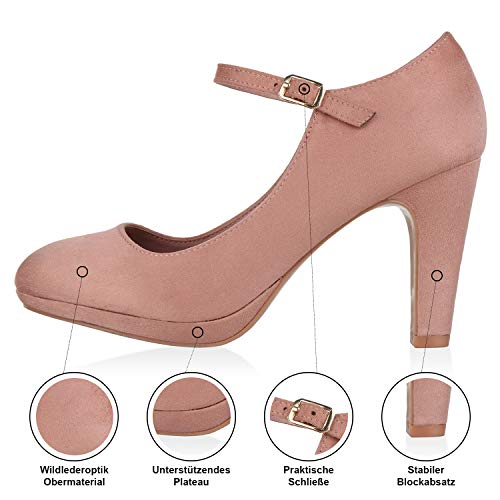 SCARPE VITA Damen Pumps Mary Janes Veloursleder-Optik High Heels Blockabsatz 160330 Rosa 38 - 4