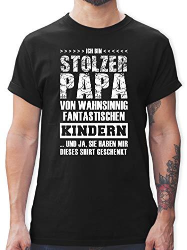 Vatertagsgeschenk - Stolzer Papa Fantastische Kinder - 3XL - Schwarz - Vater Geschenke zum Geburtstag - L190 - Tshirt Herren und Männer T-Shirts