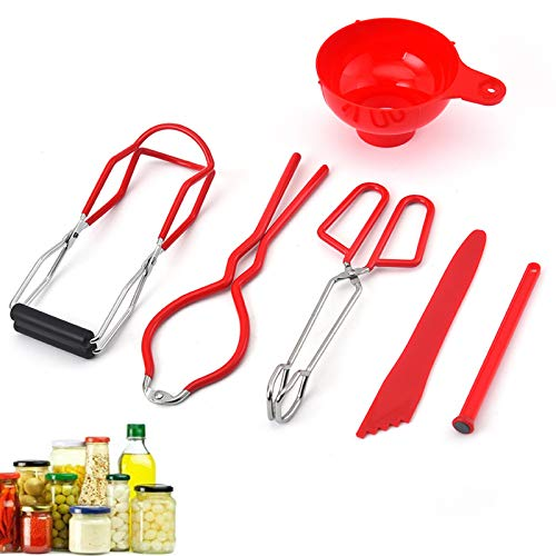 Canning Kits-Canning Tools And Equipment Sets,Include Jar Lifter,Jar Wrench, Lid Lifter, Canning Tongs, Bubble Popper/Bubble Measurer/Bubble Remover Tool,Canning Kit For Beginners(Red)