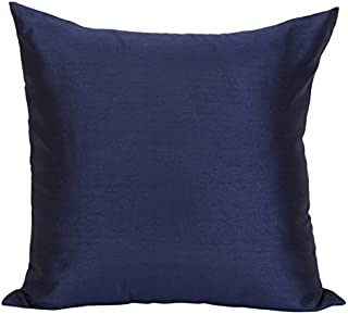 The White Petals Set of 2 Dark Blue Art Silk Pillow Covers, Plain Silk Cushion Cover, Solid Color Dark Blue Throw Pillow, (18x18 inches, Dark Blue)