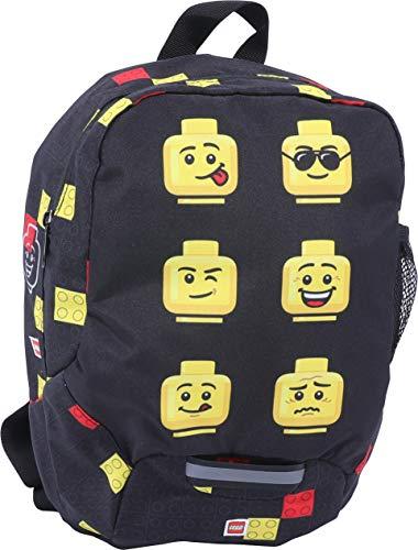 LEGO Bags Kindergarten Rucksack Faces, Leichter Kinderrucksack, Vorschulrucksack mit Lego Motiv, Kita Rucksack schwarz, mit großem Hauptfach, Mesh Seitentasche, Brustgurt und Namensschild innen