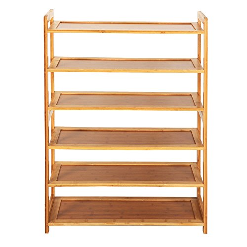 SUFUBAI Zapatero de bambú de 6 niveles, estante de zapatos de entrada, estante de bambú de pie, zapatero organizador de almacenamiento de zapatos para el pasillo, casa