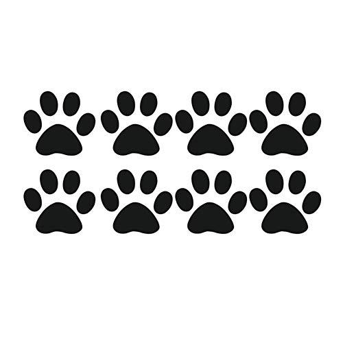 Porfeet Auto Aufkleber, Niedliche Katzenpfote Fußabdruck Reflektierende Auto-Styling-Fahrzeug-Abziehbilder Aufkleber-Dekoration Schwarz