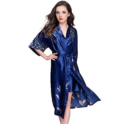Robes Vrouwen Kimono Robe Long Dressing Kimono Toga, Womens Zijde Satijn Robe Nightgown Badjas Bruidsmeisje Nachtmode Pyjama Nachthemd Lange Style (Color : Navy blue-a, Size : XL)
