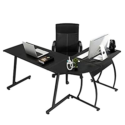 GreenForest Office Desk Corner L Shaped Workstation Laptop Table