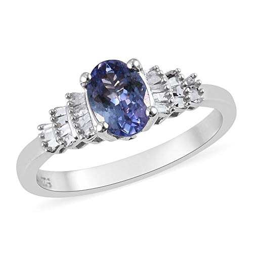 TJC Tanzanite and White Diamond Ballerina Ring for Women in Platinum Plated 925 Sterling Silver Dazzling Jewellery, TCW 1.02ct