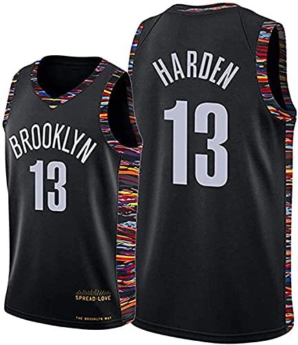 xiaotianshi NBA Männer Basketball Jersey Brooklyn NETS # 13 James Harten Atmungsaktiv Verschleißfest Bestickte Mesh Basketball Swingman Trikots Sport T-Shirt,Schwarz,L