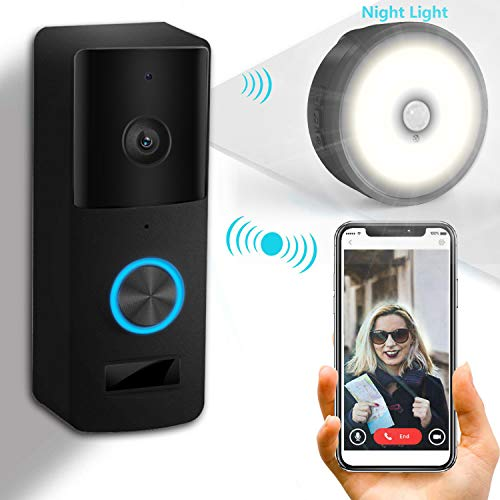 Yiroka Video Doorbell, 720P HD Security Camera with Two-Way Talk &Video, Real-Time Response, No Monthly Fees, Secure Local Storage, Free Night Light (White Video doorbell)