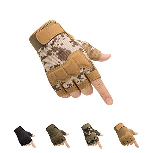 HYCOPROT Guantes Tácticos sin Dedos, Nudillos Protectores Transpirables Ligeros Guantes Militares al Aire Libre para Disparar, Cazar, Motociclismo, Escalada (Marrón, X-Large)