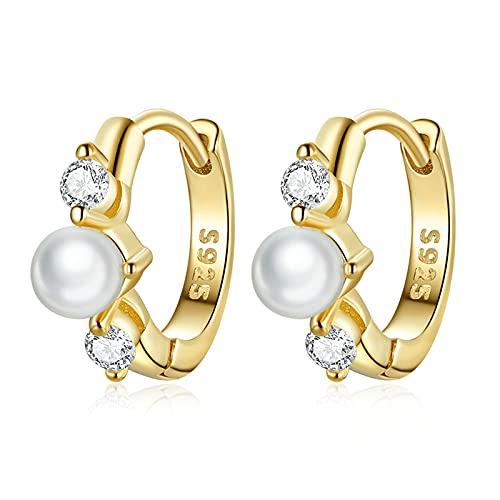 HMMJ Women's Hoop Earrings, 925 Sterling Silver Hypoallergenic Real Gold Plated French Elegant Pearl Zircon Earcuffs Piercings Jewellery