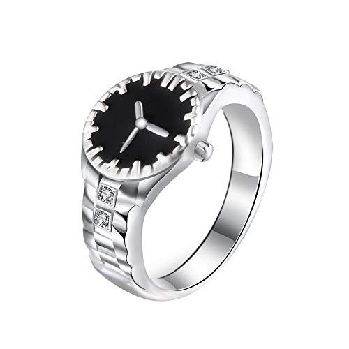 jingyuu Reloj Creativo con Diamantes de imitación para Novia, Mejor Regalo, Elegante Anillo de joyería para Mujer, 1 Unidad (Blanco)