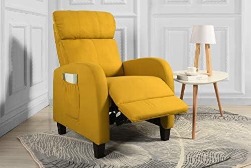 Best Living Room Slim Manual Recliner Chair (Yellow)