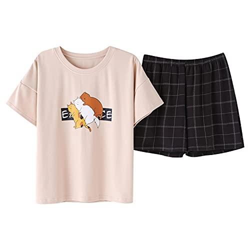MLOPPTE Pijama,Conjunto de Pijama de algodón de Verano para Mujer, Ropa de Dormir para niña, Traje doméstico de Manga Corta