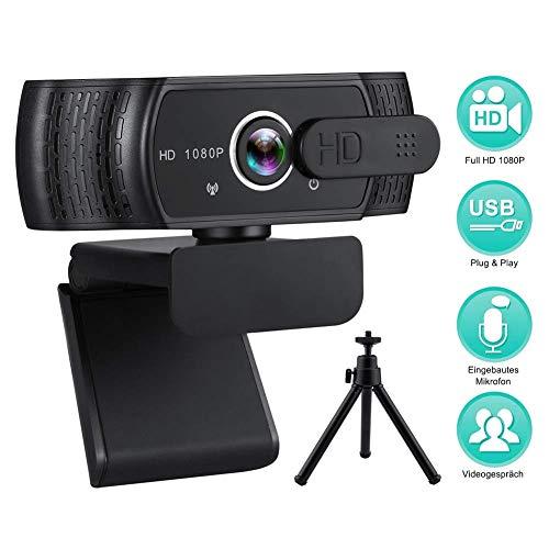 RLBUNZ 1080P Webcam mit Mikrofon, Full HD PC/Laptop Webkamera mit Stativ, Automatischer Lichtkorrektur, USB 2.0 Plug & Play für Live-Streaming, Videoanrufe, Online-Unterricht, Konferenz, Spielen