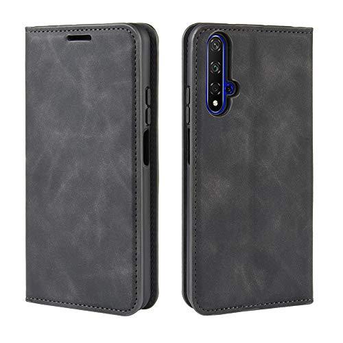 Haoye Passend für Huawei nova 5T Hülle, hat Magnet-Adsorption-Fähigkeit Premium PU Leder Handyhülle. Schwarz
