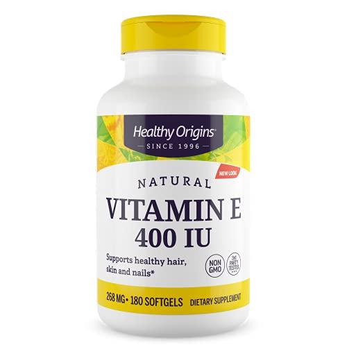 Healthy Origins | E-400 | 100% Natural Mixed Tocopherols ( Tocoferoli Misti al 100% Naturali ) | 180 Capsule | Senza Glutine | Senza OGM