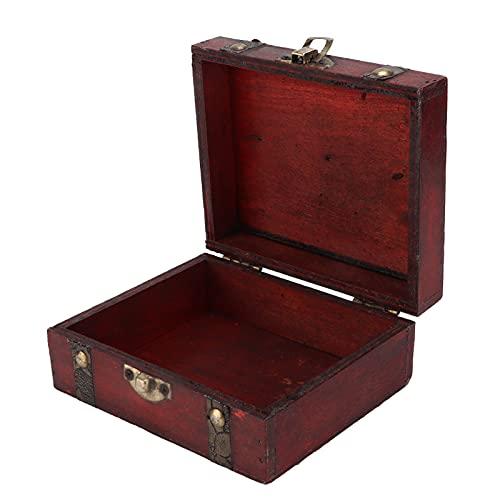 Caja de Almacenamiento de Madera, baúl de Almacenamiento de Madera Caja Decorativa Vintage Elegante Cofre del Tesoro de Madera Decorativo para el hogar para la Oficina para la decoración de