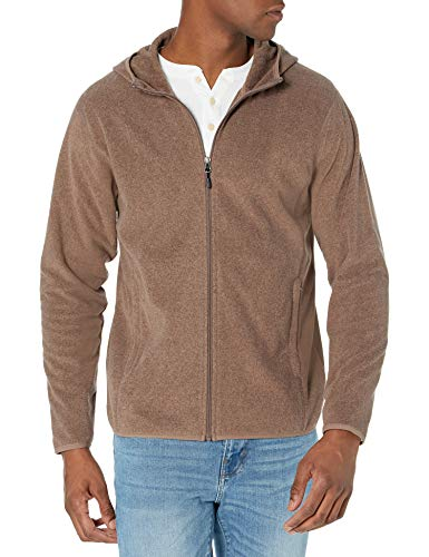 Amazon Essentials Men's Long-sleeve Hooded Full-zip Polar Fleece Jacket, Dark Brown Heather, Large