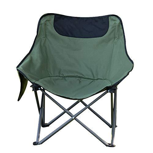 showyow Silla Plegable, Silla de Pesca al Aire Libre, Silla de Luna para Acampar, Silla de jardín con Bolsillo Lateral.(Color Verde)