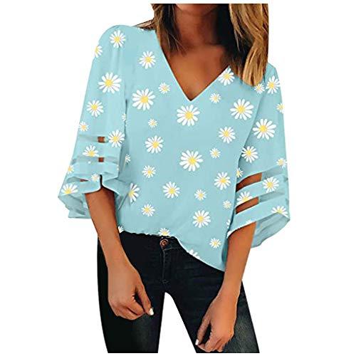 Damen Bluse Mesh Panel Bluse mit V-Ausschnitt 3/4 Bell Sleeve Casual Loose Top Shirt Ausgestellte ÄRmel V-Ausschnitt Einfarbiges Kreuz Lockeres T-Shirt Schulterfreies Oberteil