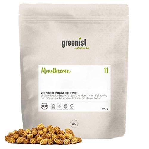greenist Maulbeeren weiß, BIO, 500g, ganze Beere, Türkei, sonnengetrocknet, NEUE ERNTE, topping,Trockenobst, lecker, saftig