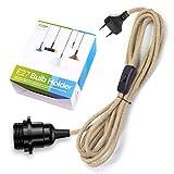 Portalámparas E27 con cable e interruptor, casquillo E27 vintage con cable textil de lino de 4,5 m, lámpara colgante con enchufe para lámparas de pie, candelabros, PEBA