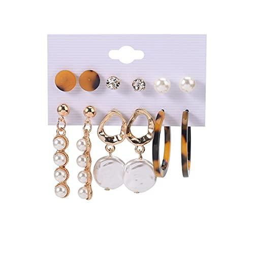 1 pieza de pendientes de perlas para niñas, pendientes vintage con colgante de perla
