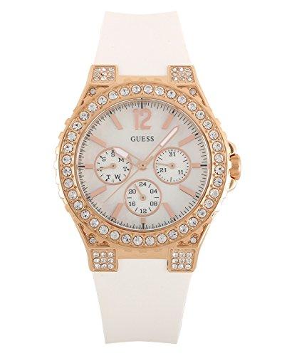 Guess W16577L1 - Reloj analógico de Cuarzo para Mujer con Correa de Silicona, Color Blanco