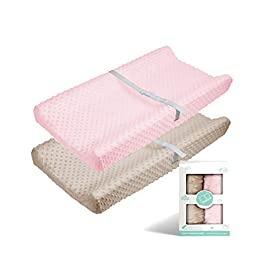 Babebay Changing Pad Cover – Ultra Soft Minky Dots Plush Changing Table Covers Breathable Changing Table Sheets Wipeable Changing Pad Covers Suit for Baby Boys and Girls