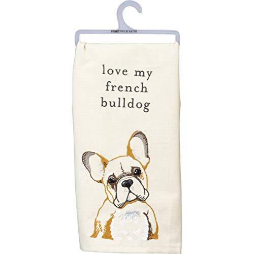 Primitives by Kathy Love My French Bulldog Dish Towel, 20' x 26', White