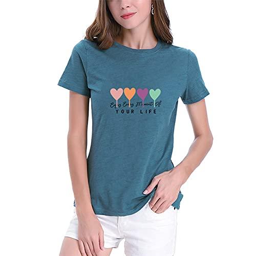 SLYZ Camiseta De Algodón Estampada con Letras De Amor Sueltas con Cuello Redondo Y Manga Corta para Mujer De De Verano