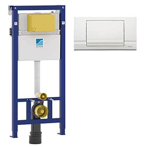 SCHWAB WC Element Vorwandelement Spülkasten Unterputz + Betätigungsplatte RIVA Spülstopp