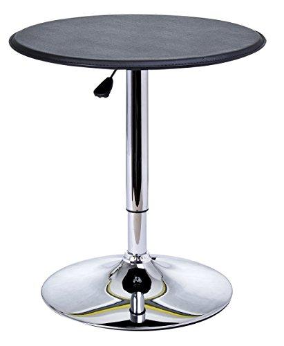 HOMCOM Table de Bar Table Bistro Chic Style Contemporain Table Ronde Hauteur réglable 67-93 cm Ø 63 cm Plateau pivotant 360° métal chromé PVC Noir
