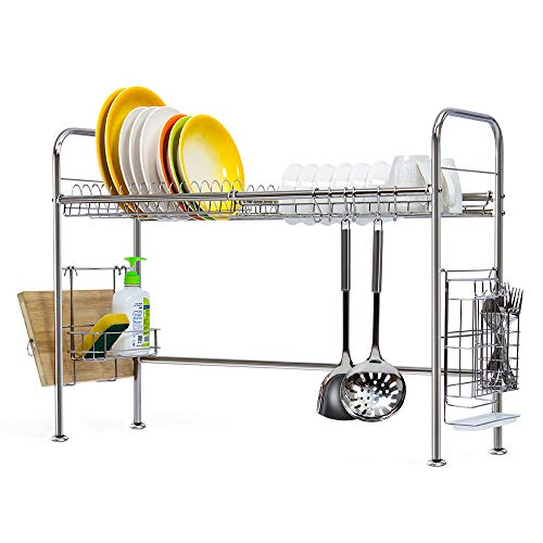 NEX 304 Stainless Steel Dish Rack Over the Sink Dish Drying Rack with Cutting Board Holder Utensil Holder Hooks
