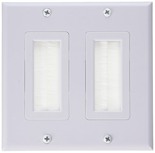 iMBAPrice Dual Gang Wall Plate with Brush Bristles - White