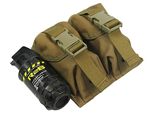 MOLLE Tactical Pouch Double Under Two Grenades. Model (Coyote Brown)