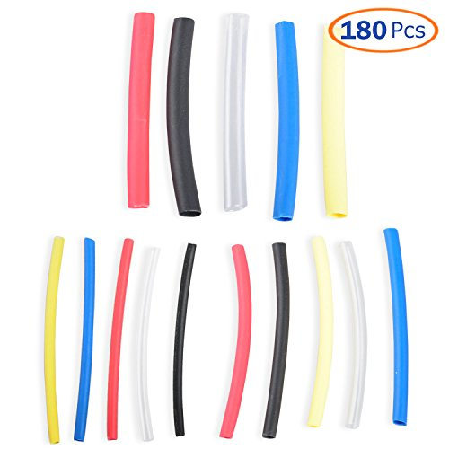 Heat Shrink Tubing Kit, Conwork Assorted 2:1 Heat Shrinking Tube Wire Wrap Cable Sleeve Set (180Pcs, 5 Colors)