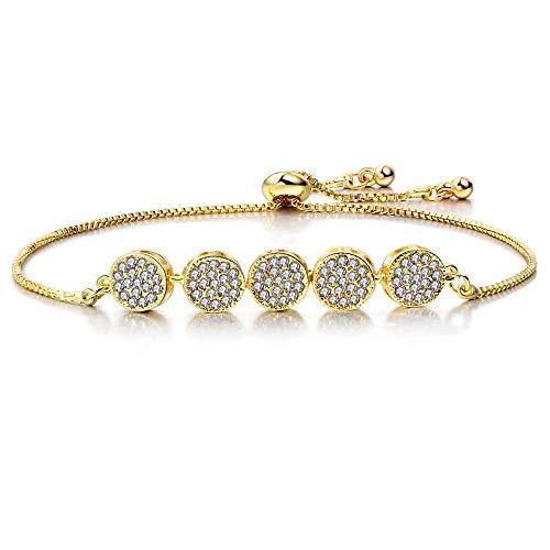 JJDSL Metalen Armband, Mode Verstelbare Eenvoudige Gouden Ring Crystal Hanger Armband Elegante Bedel Bangle Crystal Manchet Vrouwen Sieraden Geschenk, Voor Vrouw Moeder zelf Studenten Grootmoeder