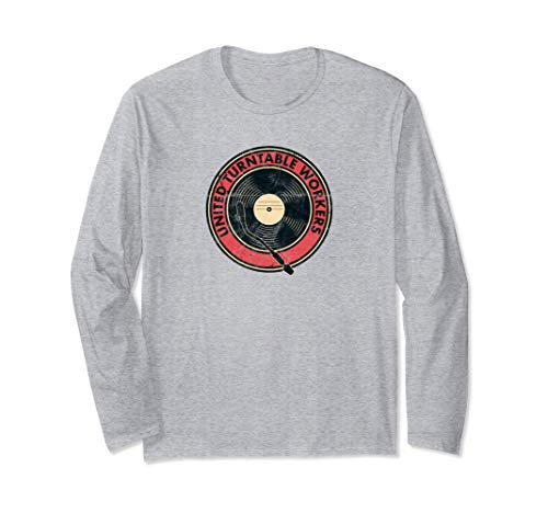 United Turntable Workers DJ Giradischi Vinyl Nerd Analog Maglia a Manica