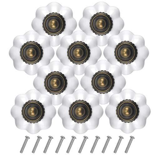 Jinlaili 10PCS Blanco Vintage Pomo de Armario Redondo, 30MM Retro Bronce Tirador para Cajón, Pomos y Tiradores de Muebles, Pomos Tiradores de Muebles, Armarios de Cocina,Cajones, Pomos para Puertas