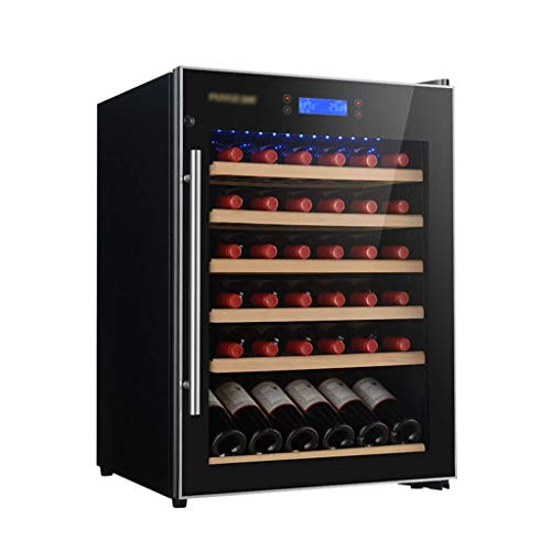 Wine Cellar, 41 Bottle Freestanding Wine Cooler with LED Display & Double-Layer Tempered Glass Door,5-22℃Single Zone Wine Cooler