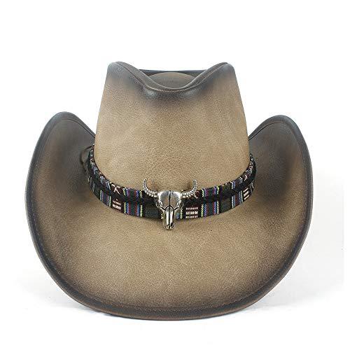 YIBANG-hat Fashian - Chapeau de Cowboy Occidental en Cuir 100% avec Bande enroulée en Cuir avec tête de Vache, léger, Respirant (Couleur : Tan, Taille : 58-59)