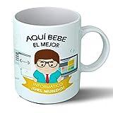 Planetacase Taza Desayuno Aquí Bebe el Mejor informático del Mundo Regalo Original informáticos Ceramica 330 mL