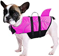 Ripstop Dog Life Jacket Shark Life Vest for Dogs, Safety Lifesaver with High Buoyancy and Lift Handle for Small and Medium Breeds?Rose Red S?