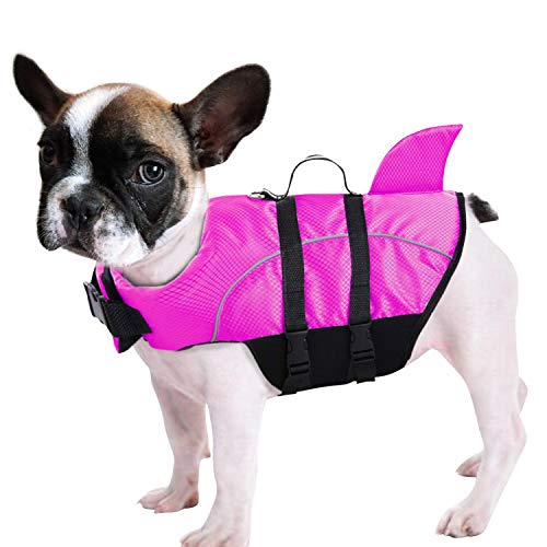 Ripstop Dog Life Jacket Shark Life Vest for Dogs, Safety Lifesaver with High Buoyancy and Lift Handle for Small and Medium Breeds(Rose Red L)